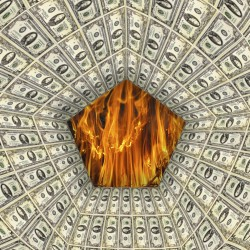 American dollar pattern with flame on the background